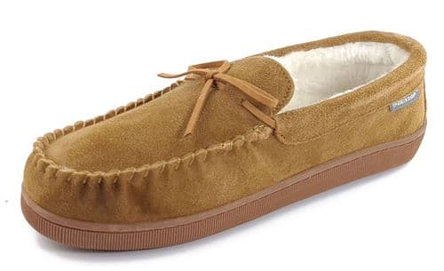 Dunlop Joshua Suede Leather Moccasin Memory Foam Mens Slippers Tobacco